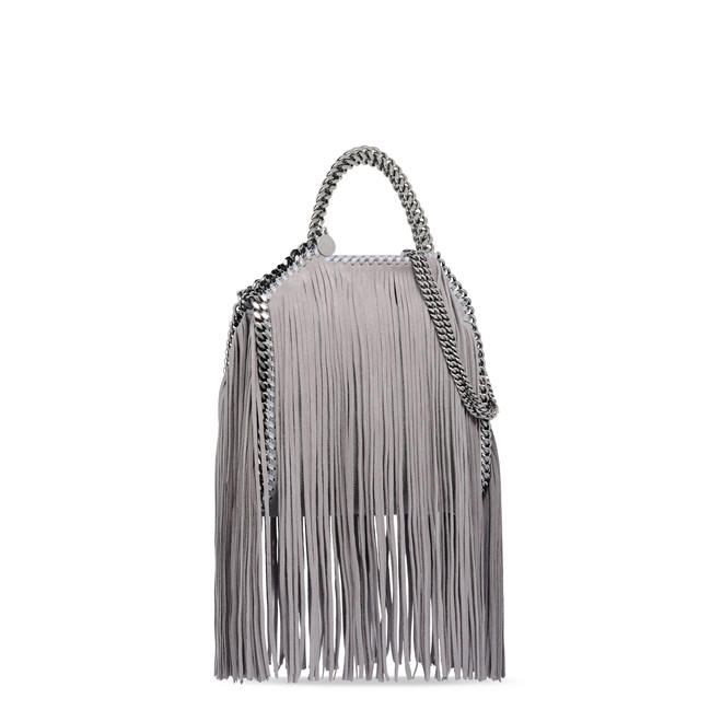 LIGHT GREY FALABELLA SHAGGY DEER FRINGED MINI TOTE 1055