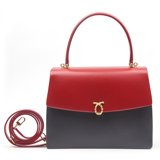 Launer London Diva Handbag Grey Red Calf £1,300