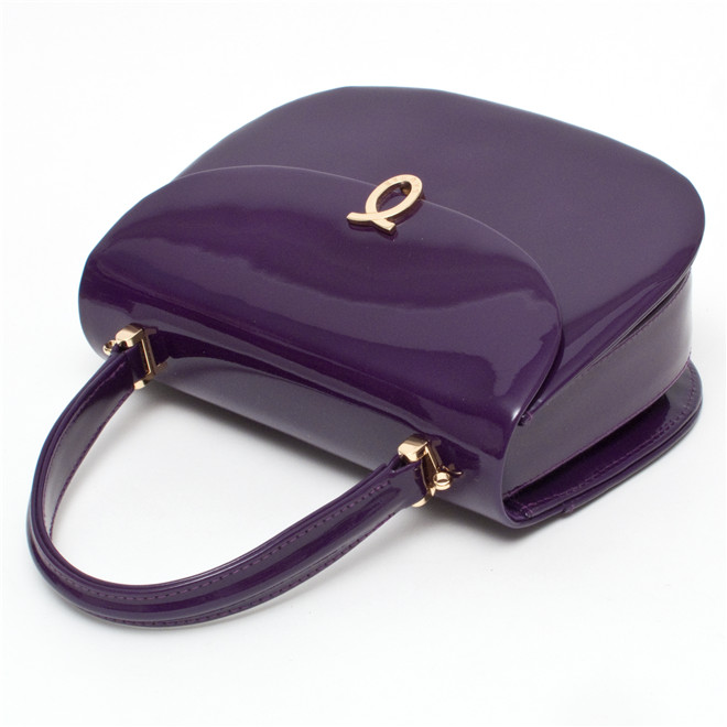 Launer London Nocturne Handbag Purple Patent £1,200