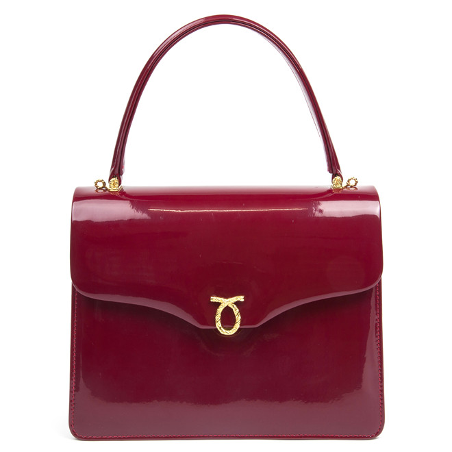 Launer London Royale handbag in rasperry patent £1,600