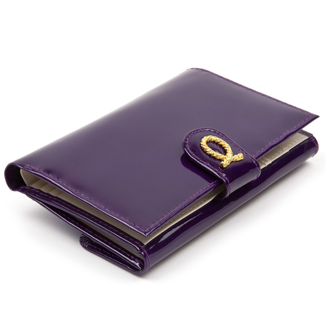 Launer medium purse patent purple rope £292